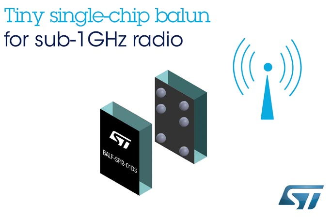 STMicroelectronics' Single-Chip Balun for sub-1GHz Radio Practically Makes Antenna-Matching/Filtering Circuitry Disappear