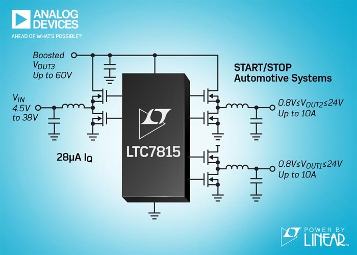 Triple Output, Buck/Buck/Boost Synchronous DC/DC Controller Operates up to 2.25MHz in Automotive Start/Stop Systems with 28μA IQ