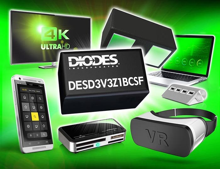 Ultra-Compact TVS from Diodes Incorporated Provides Protection for USB 3.1/3.2 and Thunderbolt 3 Interfaces