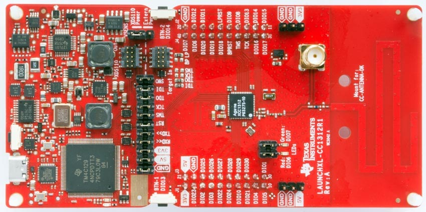 LaunchPad kit with CC1312 MCU (LAUNCHXL-CC1312R1)