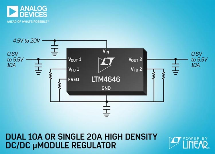 Compact Dual 10A or Single 20A μModule Regulator Powers FPGAs, GPUs, ASICs & System Power