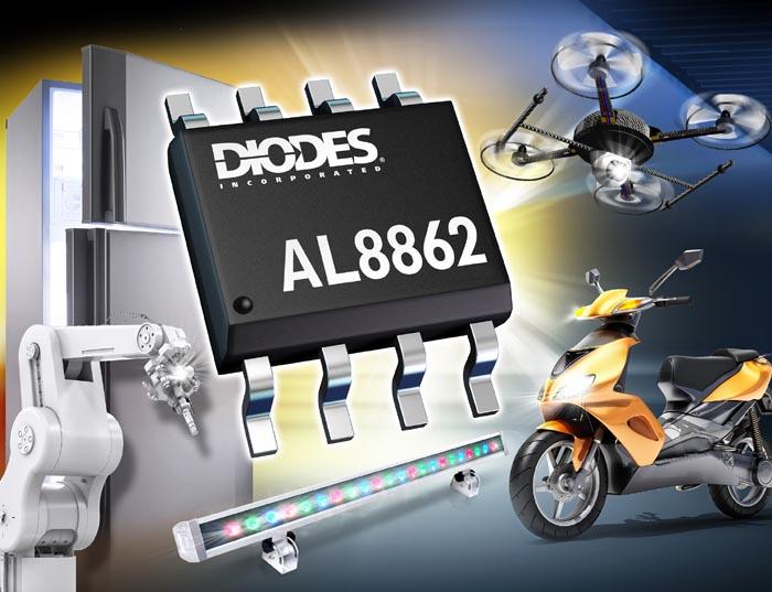 Diodes анонсирует 60-вольтовый понижающий драйвер светодиодов с внешней регулировкой яркости