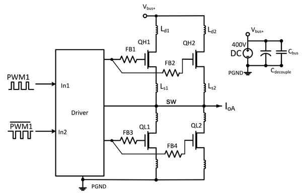 Полумостовая схема с парой параллельных GaN-транзисторов с корпусами TO-220