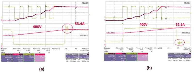Осциллограммы переключений транзисторов без RC-цепочки при нагрузке 50 А