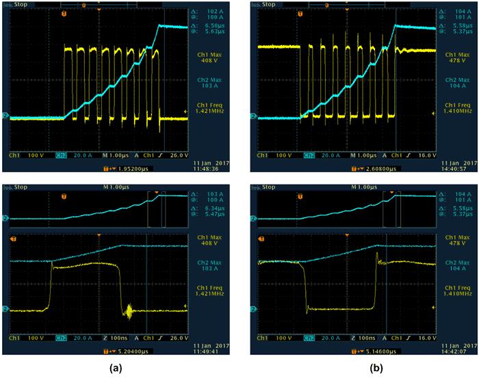 Осциллограммы переключений транзисторов с ферритовыми SMD-фильтрами