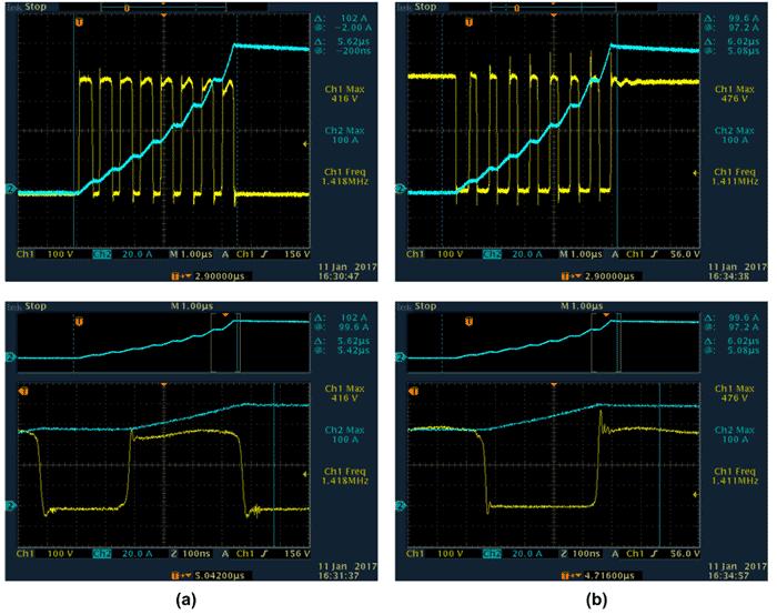 Осциллограммы переключений транзисторов с ферритовыми SMD-фильтрами и дополнительными помехоподавляющими RC-цепочками