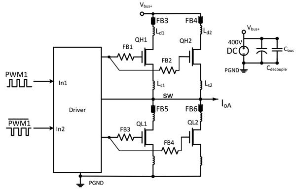Полумостовая схема с парой параллельных GaN-транзисторов с ферритовыми бусинками в цепях стока