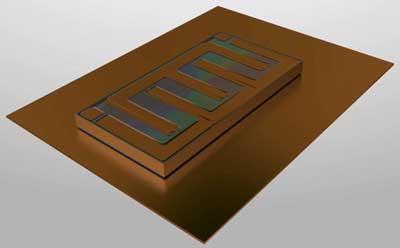 Второй этап упаковки. Размещение кристалла транзистора