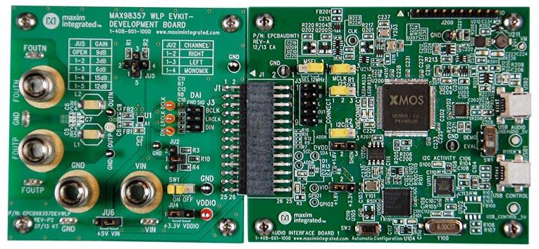 Отладочная плата MAX98357EVSYS#WLP, подключенная к плате аудио интерфейса