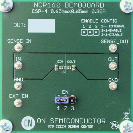 Оценочная плата NCP160FCT2GEVB ультрамалошумящего LDO регулятора с высоким PSRR и выходным током 250 мА