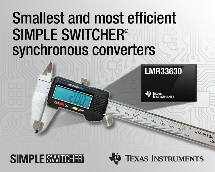 Texas Instruments разработала самые миниатюрные и эффективные в отрасли синхронные преобразователи SIMPLE SWITCHER