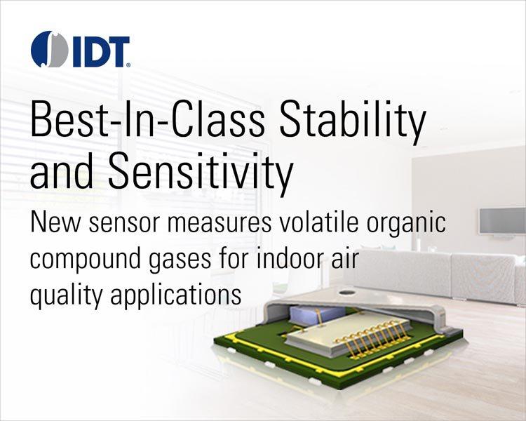 IDT Expands its Flagship Integrated VOC Gas Sensor Line With Solutions for Indoor Air Quality Applications