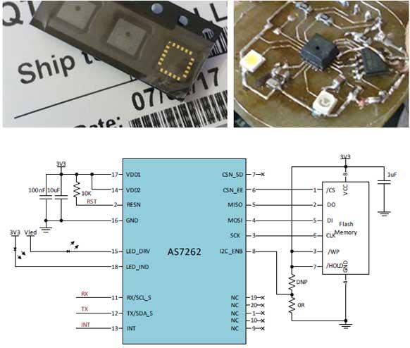 Внешний вид датчиков AS726x, схема их включения и пример печатной платы с установленным датчиком