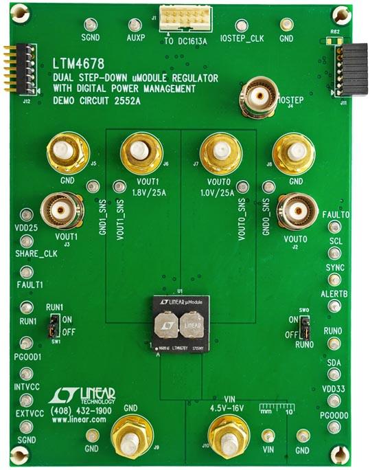 Демонстрационный модуль 2552A - два 25-амперных или один 50-амперный регулятор с цифровым управлением