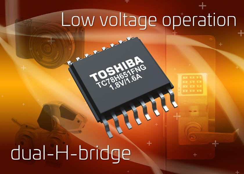 Toshiba H-bridge motor drive IC supports low voltage, high current drive