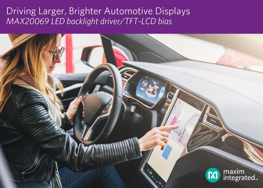 Maxim разработала универсальный многоканальный драйвер светодиодной подсветки для автомобильных TFT-LCD дисплеев следующего поколения