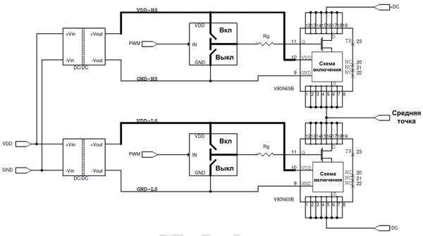 Питание драйверов верхнего и нижнего ключа с помощью дополнительных изолированных ИП