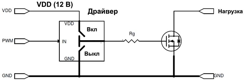 Схема управления стандартным N-канальным MOSFET