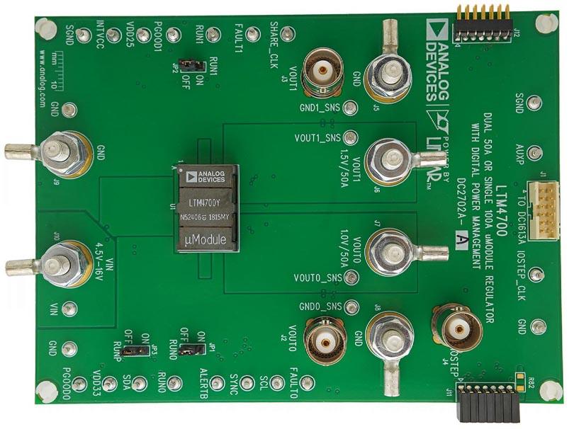 Демонстрационная схема DC2702A-A двухканального преобразователя на основе модуля LTM4700