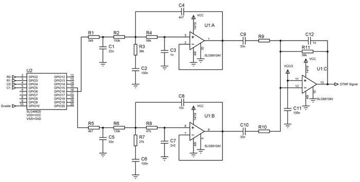 Принципиальная схема DTMF-генератора тональных сигналов