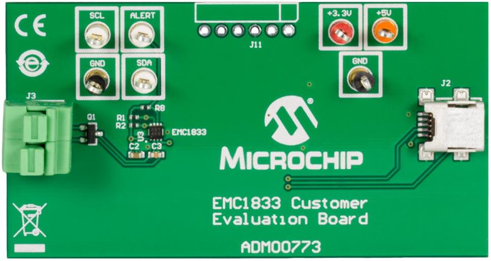 Оценочная плата выносного датчика температуры на микросхеме EMC1833 (ADM00773)