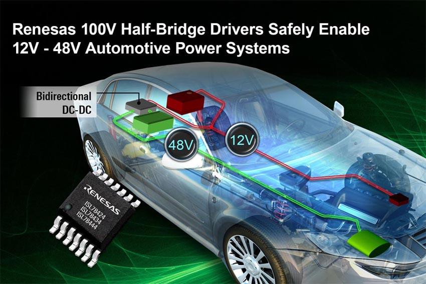 100-вольтовые драйверы MOSFET полумостов Renesas обеспечат надежное управление гибридными силовыми агрегатами автомобилей