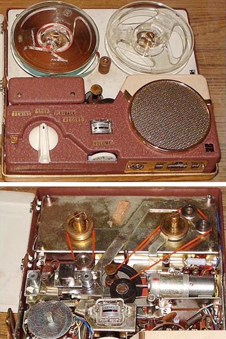 Катушечный магнитофон National RQ-112. (Снизу вид со снятой верхней панелью).