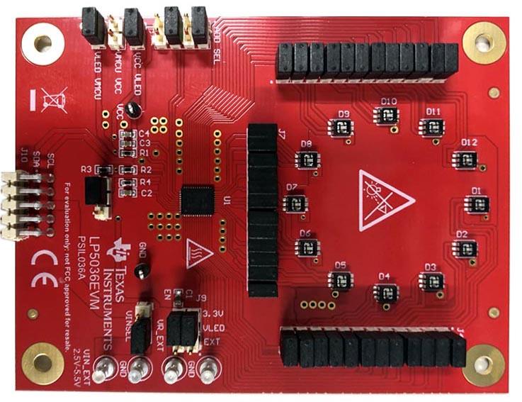 LP5036 36-Channel 12-Bit PWM Ultralow Quiescent Current I2C RGB LED Driver Evaluation Module (LP5036EVM)
