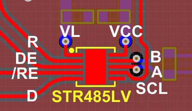 Пример разводки печатной платы с микросхемой STR485