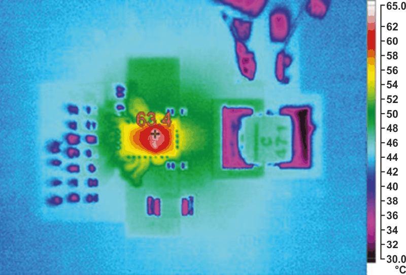 Термограмма ведущей микросхемы в схеме на Рисунке 4 при токе 10 А  и естественном охлаждении. (Температура окружающей среды 25 °C,  температура перегрева 38 °C).