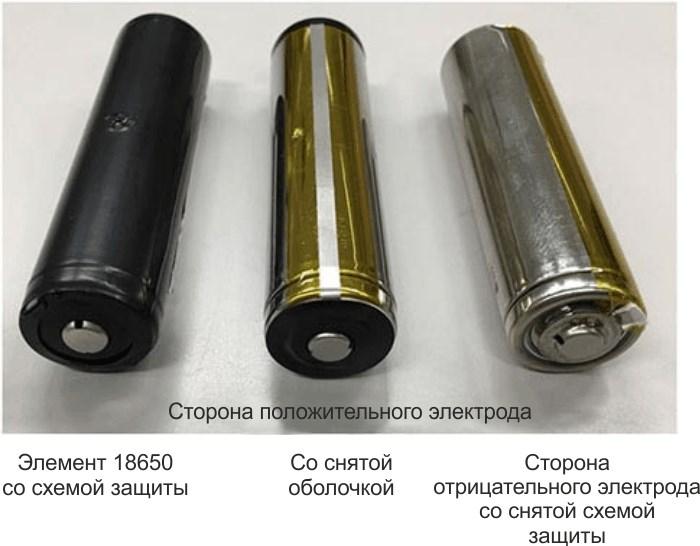 Элемент 18650, содержащий схему защиты, со снятой оболочкой.