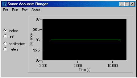 Выходной сигнал ультразвукового датчика, работающего в одиночестве
