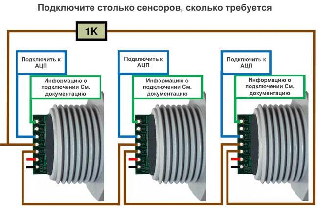 Диаграмма последовательного включения датчиков XL-MaxSonar-WR и XL-MaxSonar-WRC для выполнения зацикленных измерений