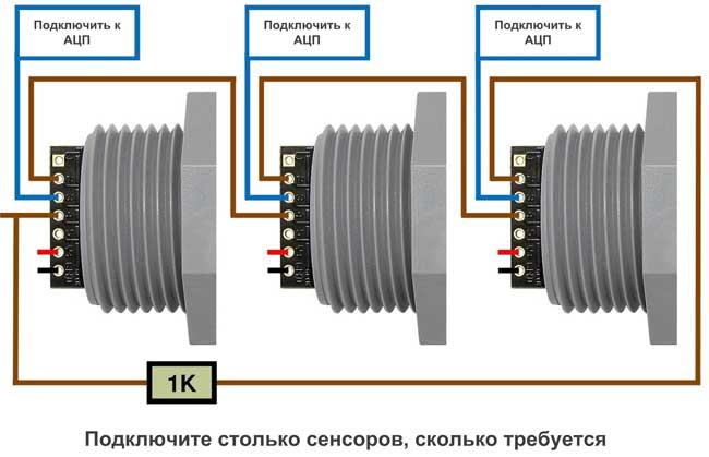 Диаграмма последовательного включения датчиков HRXL-MaxSonar-WR и HRXL-MaxSonar-WRC для выполнения зацикленных измерений