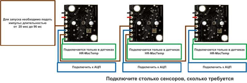 Диаграмма последовательного включения датчиков HRLV-MaxSonar-EZ