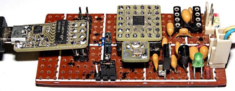 Подключение преобразователя SI8663-DIP (Рисунок 11) и кварцевого генератора SG-8002SE (72 МГц, разводка Рисунок 10б) к плате с EFM8LB12 (разводка переходника Рисунок 8).