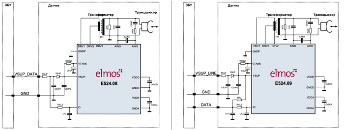 Типовые схемы включения ультразвуковых трансформаторных датчиков 2-го поколения E524.08/09