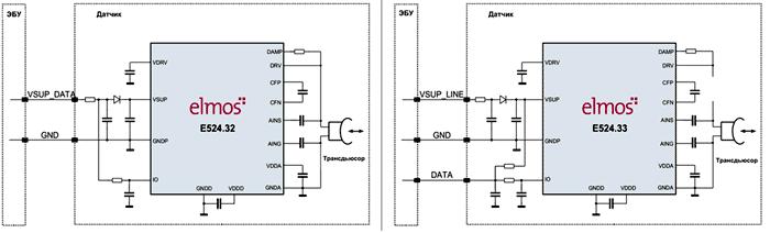 Типовые схемы включения ультразвуковых бестрансформаторных датчиков 2-го поколения E524.32/33