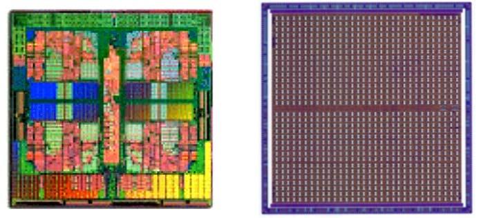 Увеличенная фотография структуры традиционного процессора и нейропроцессора