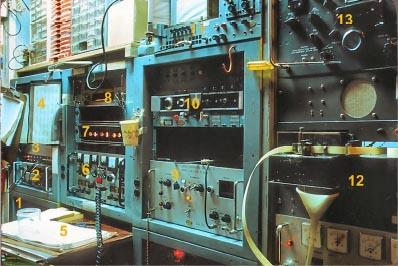 Навигационный приемник сигналов НСС Transit и оборудование наземной станции слежения. 2 - таймер-счетчик, 6 - приемник слежения за сигналами спутников, 9 - блок оцифровки и тактовых сигналов, 10 - мастер-генератор тактовых сигналов, 12 - перфоратор бумажной ленты регистратора сигналов, 13 - коротковолновый приемник.