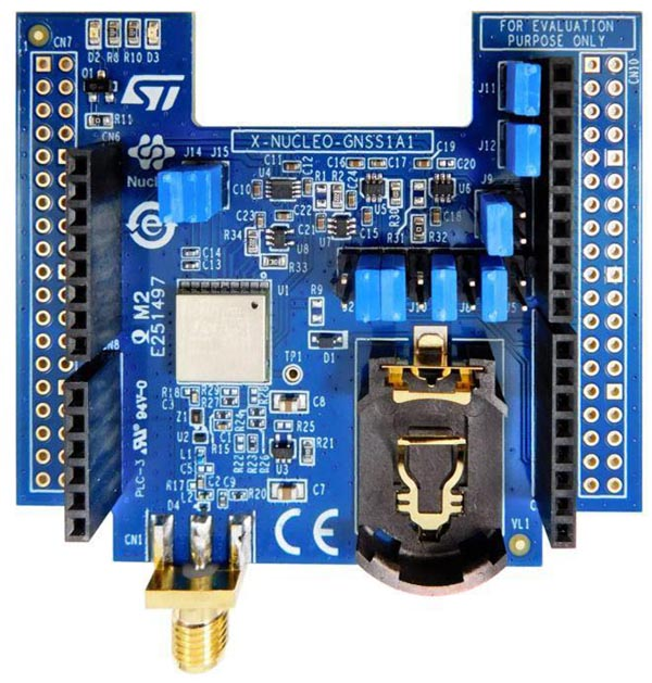 The X-NUCLEO-GNSS1A1 expansion board is based on the Teseo-LIV3F tiny GNSS module
