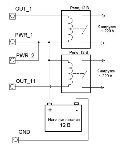 Подключение дополнительных реле к модулям Laurent