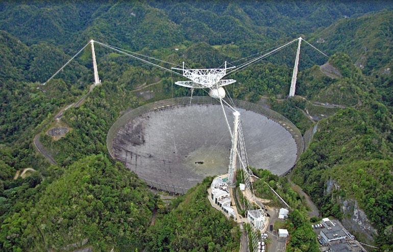 Shown is the massive radio telescope in Arecibo, Puerto Rico. (Courtesy of Wikipedia)