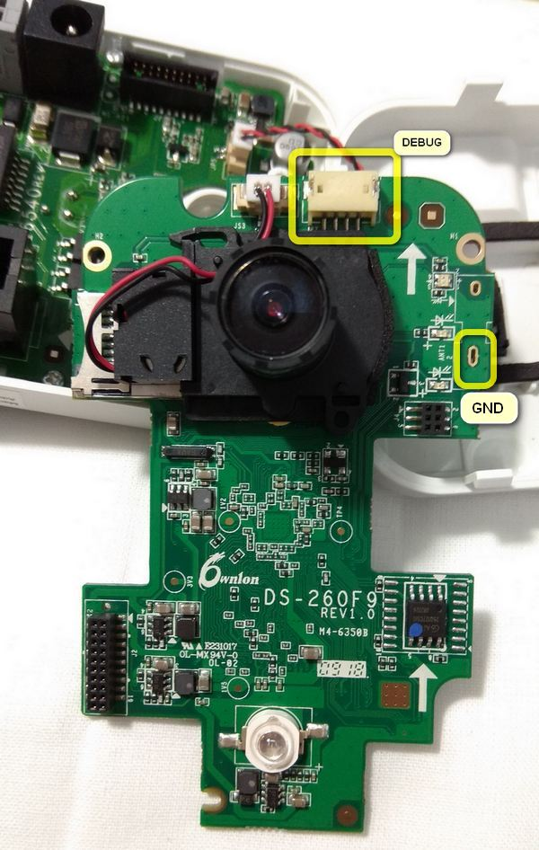 The location of the debugging port connector on the circuit board of IP-video camera DS-2CD2420F-I.