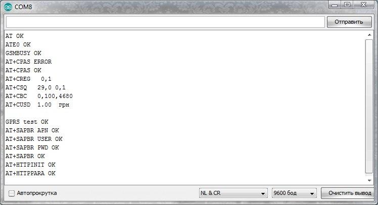 Процесс выполнения подпрограммы init_GPRS().