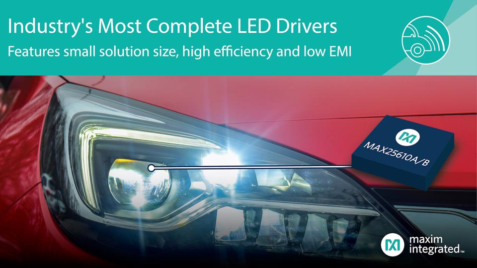 Компактные драйверы светодиодов Maxim обеспечивают самые