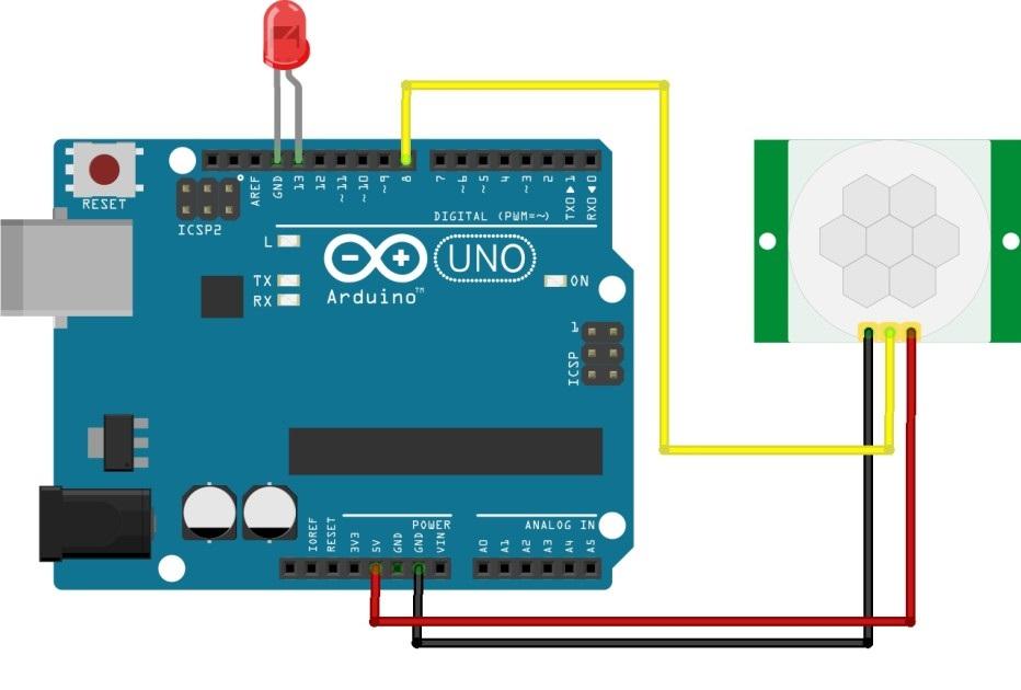 Пример подключения датчика движения HC-SR501 к контроллеру Arduino UNO