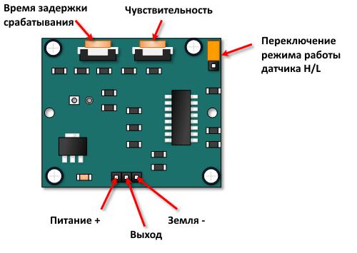 Схема расположения элементов датчика HC-SR501