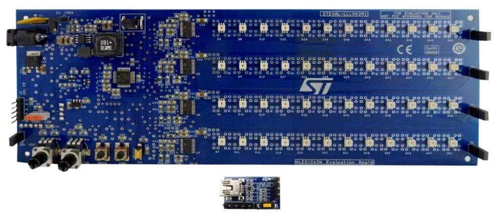 Оценочный набор STEVAL-LLL002V1 для задних фонарей автомобилей с шаблонами анимации на основе ALED1262ZT и STM8AF6266.