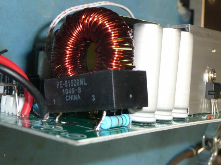 A circuit board with a new coil installed